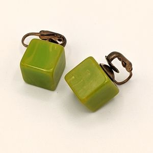 VTG Bakelite TESTED MCM Avocado Cube Earrings